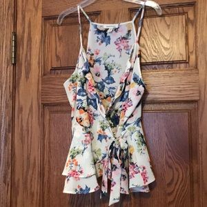 Floral Sleeveless Wrap Tank Blouse with Ribbon